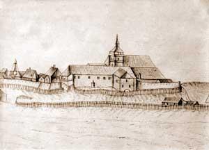 A szécsényi vár látképe, Gerhardt Graas rajza, 1666