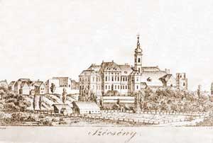 A kastély és angolparkja, Lányi Sámuel rajza, 1820 körül